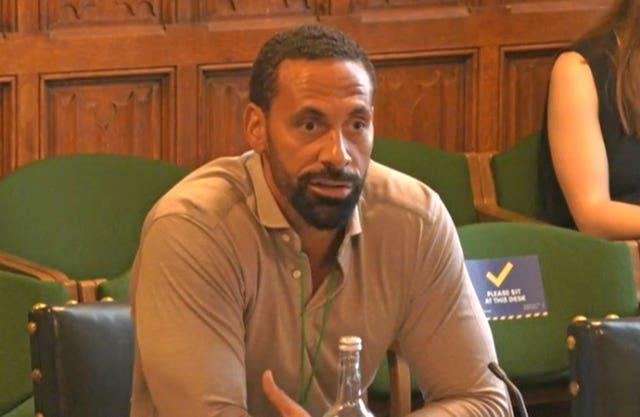 Rio Ferdinand giving evidence to joint committee seeking views on how to improve the draft Online Safety Bill