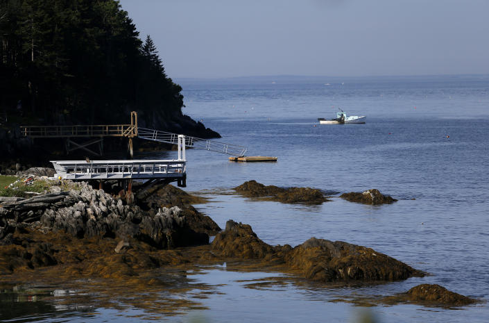 A view of the dock (C) where Tom Whyte said he watched his neighbor and her daughter get into the water shortly before his neighbor was killed in an apparent shark attack on July 28, 2020 in Hapswell, ME.  (Jessica Rinaldi/The Boston Globe via Getty Images)