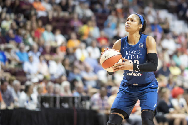 """<a class=""""link rapid-noclick-resp"""" href=""""/wnba/players/4748/"""" data-ylk=""""slk:Maya Moore"""">Maya Moore</a> isn't thinking about a return to basketball just yet. She's enjoying her time away from the game, and working to draw attention to an important issue in the United States. (Tim Clayton/Getty Images)"""