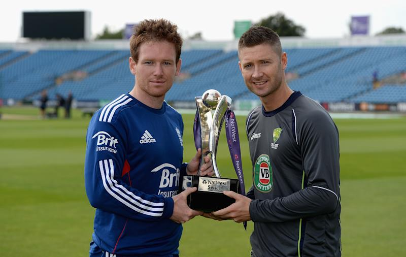 LEEDS, ENGLAND - SEPTEMBER 05:  England captain Eoin Morgan and Australia captain Michael Clarke pose with the NatWest trophy at Headingley Carnegie Stadium on September 5, 2013 in Leeds, England.  (Photo by Gareth Copley/Getty Images)