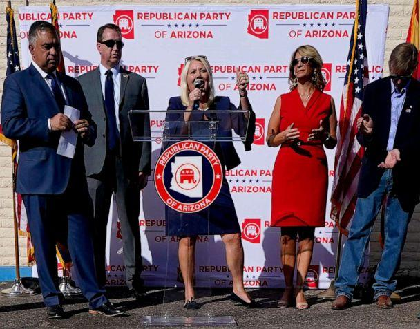 PHOTO: Rep. Debbie Lesko, center, speaks at an Arizona Republican Party news conference, Nov. 5, 2020, in Phoenix. (Matt York/AP)