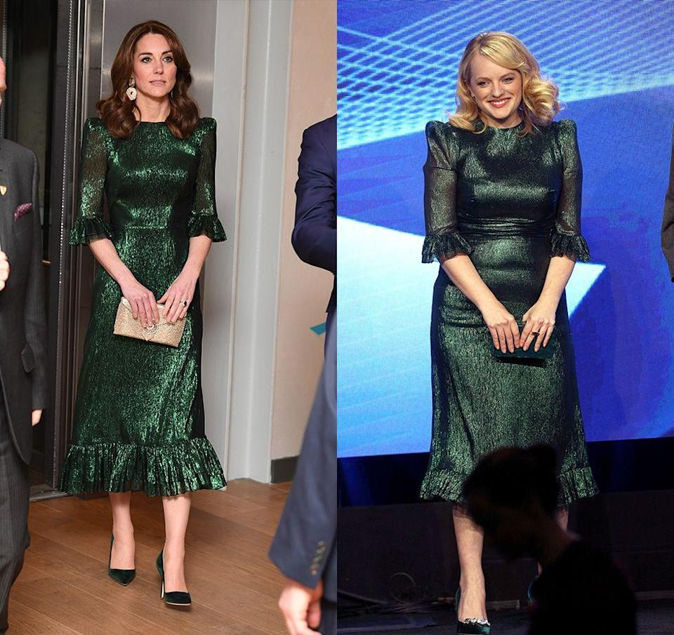 "<p>Kate Middleton ignited the internet when she donned this Vampire's Wife ruffled emerald lamé dress during her <a href=""https://www.townandcountrymag.com/society/tradition/a31119173/kate-middleton-tk-ireland-royal-tour-arrival/"" rel=""nofollow noopener"" target=""_blank"" data-ylk=""slk:2020 visit to Ireland"" class=""link rapid-noclick-resp"">2020 visit to Ireland</a>. The dress is known as a favorite among influencers and the fashion set and was even worn by Elisabeth Moss a few years earlier at a press event. </p>"