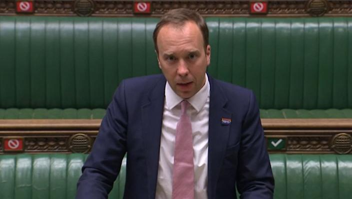 Health Secretary Matt Hancock updates MPs in the House of Commons, London, on the latest situation with the Coronavirus pandemic.