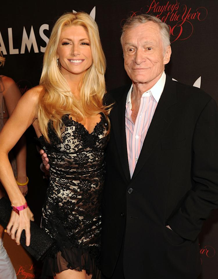 Brande Roderick and Hugh Hefner arrives at Playboy's 50th Annual Playmate of the Year Announcement and Celebration at Palms Hotel & Casino on May 2, 2009 in Las Vegas, Nevada.