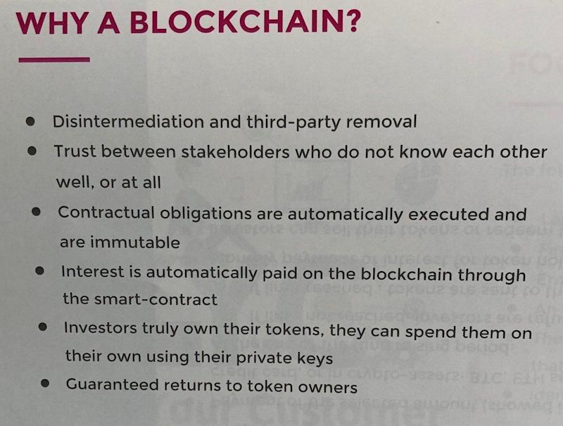 Part of the Montessori Worldwide offer document explaining why it's using blockchain. Photo: Oscar Williams-Grut/Yahoo Finance UK