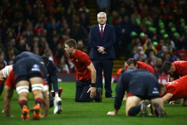 Wales' head coach Warren Gatland watches his players during a warm-up ahead of their rugby union Test match against Georgia, at Principality stadium in Cardiff, on November 18, 2017