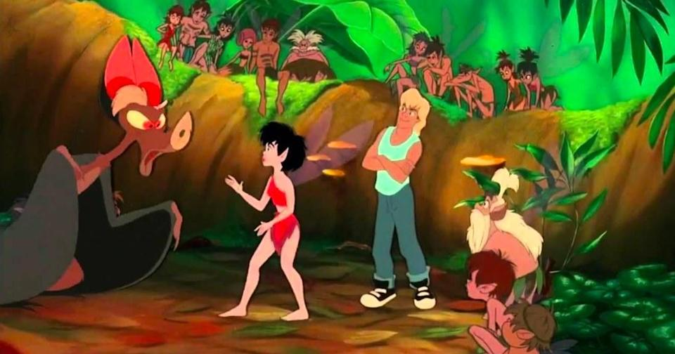 Batty yells at Crysta while Zak stands behind her and other fairies look on