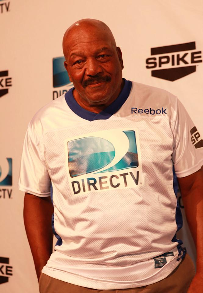 NFL Hall of Famer Jim Brown arrives at the DirecTV Celebrity Beach Bowl in Indianapolis.
