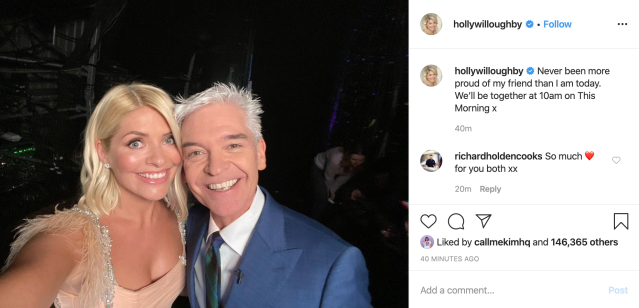 Holly Willoughby posted her own message of support for Schofield following his announcement (Picture: Instagram/Holly Willoughby)