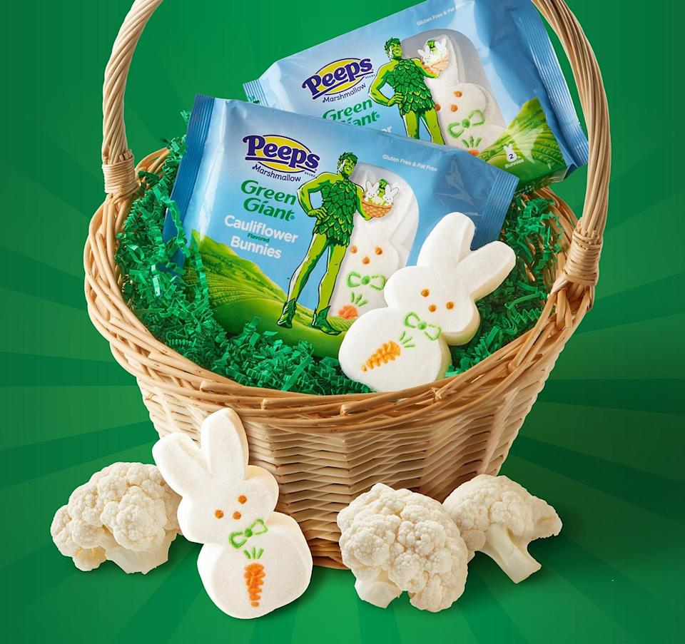 """<p>First there was cauliflower pizza, then cauliflower rice, and now cauliflower marshmallows! Peeps (jokingly) announced this collaboration with Green Giant for marshmallow bunnies with a """"hint of cauliflower"""" just in time for Easter.</p>"""