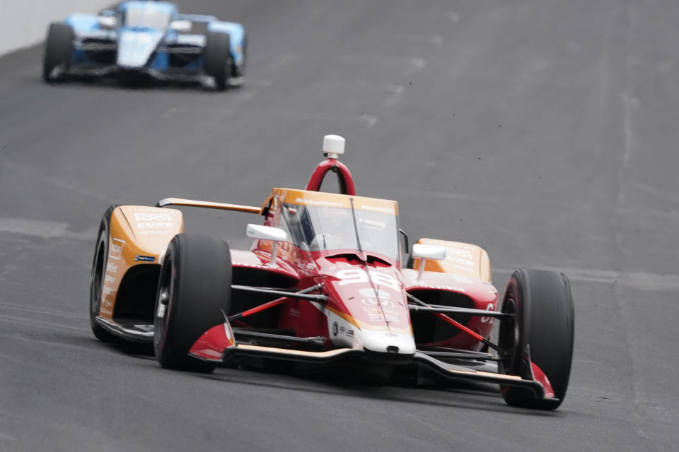 Marco Andretti drives during the final practice session for the Indianapolis 500 auto race at Indianapolis Motor Speedway, Friday, May 28, 2021, in Indianapolis. (AP Photo/Darron Cummings)