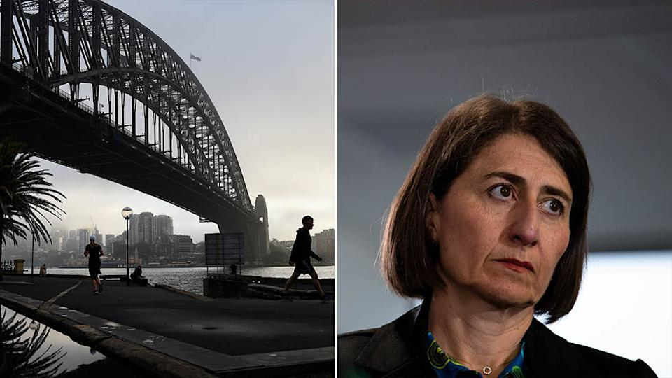 Pictured is the Sydney Harbour Bridge on the left and Gladys Berejiklian on the right.