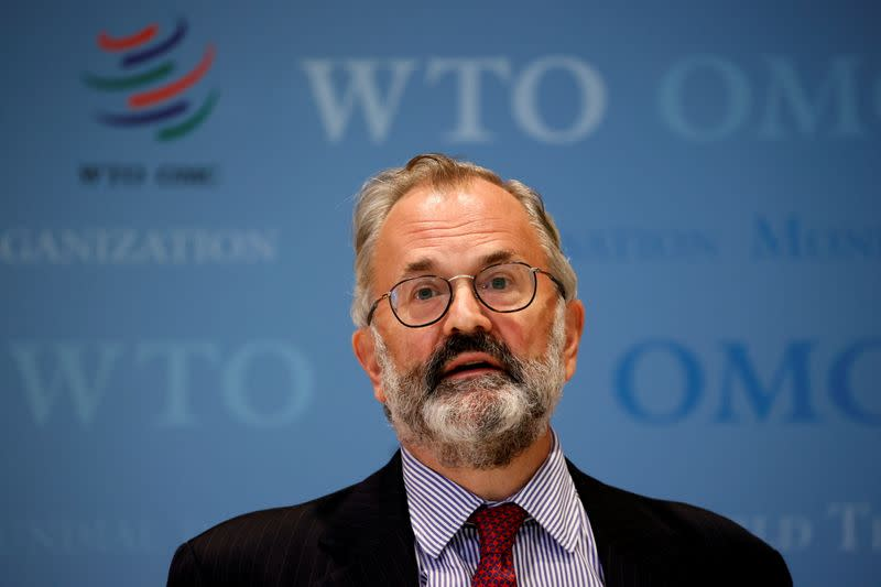 Keith Rockwell, Director of Information of the WTO talks to the media after a meeting in Geneva