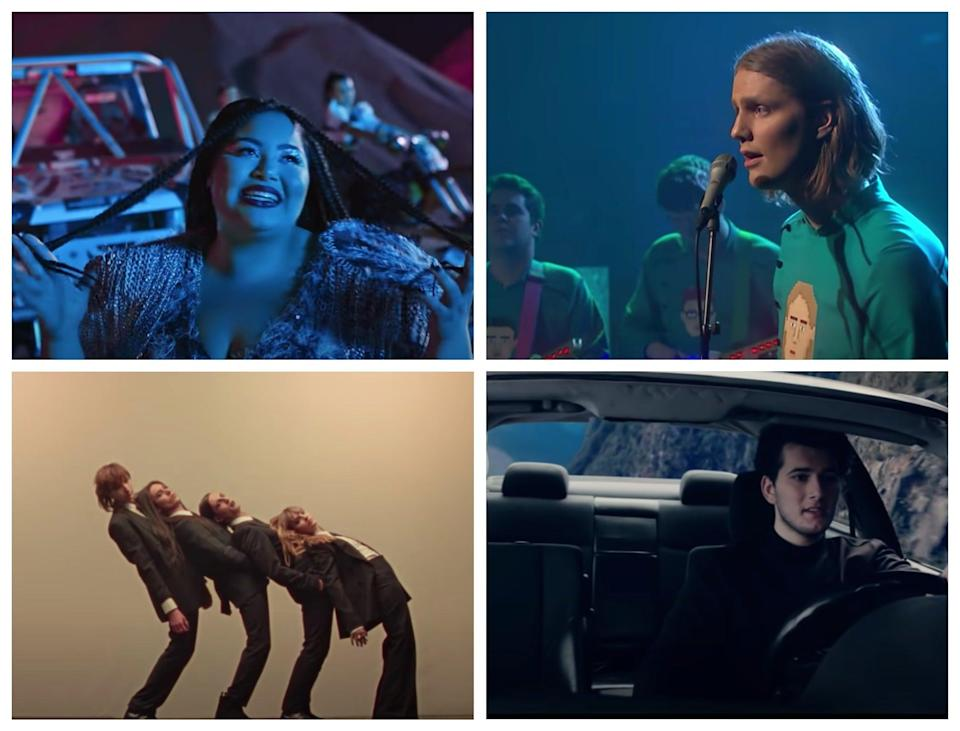 Top left clockwise: Eurovision 2021 entries for Malta, Iceland, Switzerland and Italy (YouTube)