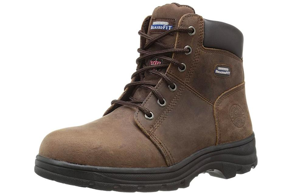 work boots, skechers
