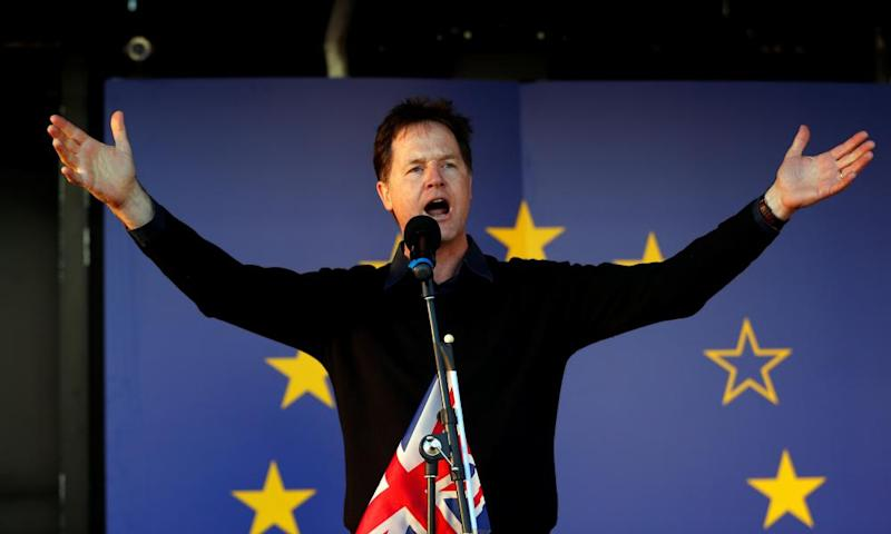 Nick Clegg speaking at a pro-EU rally in 2017