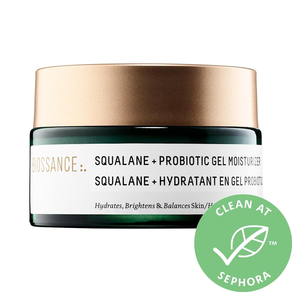 """<p>The top-rated <a href=""""https://www.popsugar.com/buy/Biossance-Squalane-Probiotic-Gel-Moisturizer-371914?p_name=Biossance%20Squalane%20%2B%20Probiotic%20Gel%20Moisturizer&retailer=sephora.com&pid=371914&price=52&evar1=bella%3Aus&evar9=47461551&evar98=https%3A%2F%2Fwww.popsugar.com%2Fbeauty%2Fphoto-gallery%2F47461551%2Fimage%2F47461579%2FBiossance-Squalane-Probiotic-Gel-Moisturizer&list1=sephora%2Cdry%20skin%2Cacne%2Csensitive%20skin%2Cbeauty%20shopping%2Cskin%20care&prop13=mobile&pdata=1"""" class=""""link rapid-noclick-resp"""" rel=""""nofollow noopener"""" target=""""_blank"""" data-ylk=""""slk:Biossance Squalane + Probiotic Gel Moisturizer"""">Biossance Squalane + Probiotic Gel Moisturizer</a> ($52) supports skin's moisture barrier with probiotics, but also adds in redness-reducing ginger extract and calming red seaweed, too. It's also very hydrating and reduces the visible appearance of large pores with squalane while it also calms any irritation.</p>"""