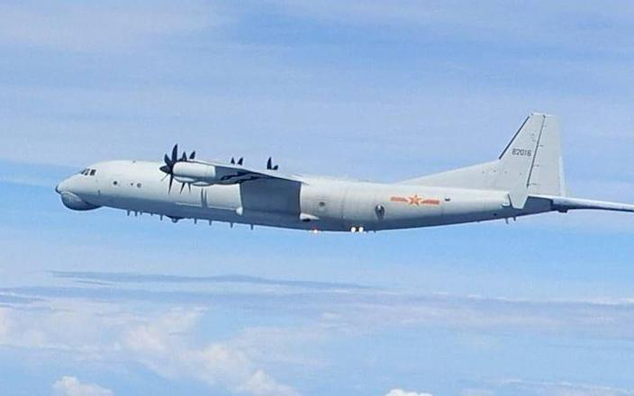 A Chinese Y-8 Anti-Submarine Warfare aircraft spotted near Taiwan - Taiwan defence ministry/EPA-EFE/Shutterstock