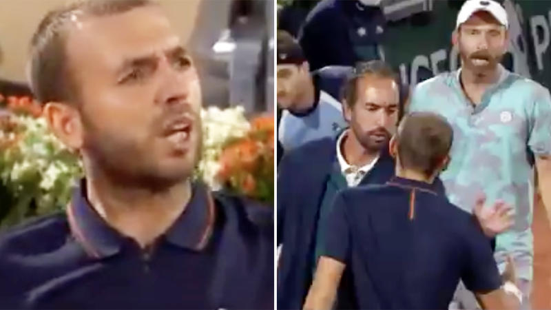 Dan Evans, pictured here seething after being accused of cheating at the French Open.