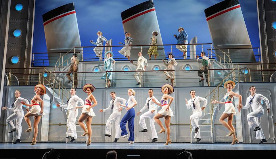 The cast of Anything Goes at the Barbican (PA)