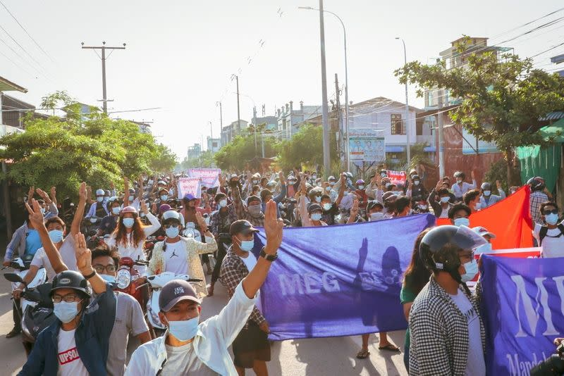 People protest in Mandalay, Myanmar in this picture obtained from social media dated May 16, 2021