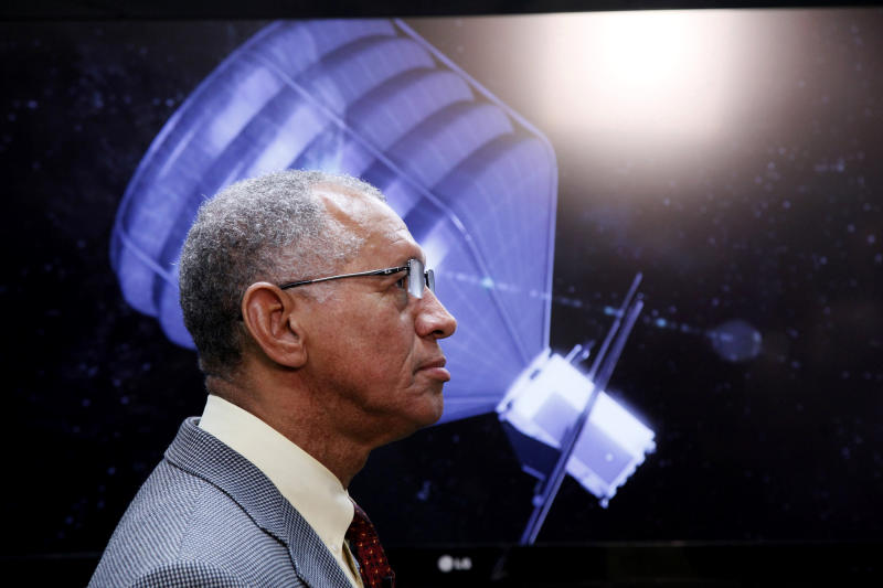 NASA Administrator Charles Bolden visits to the Jet Propulsion Laboratory in Pasadena, Calif., on Thursday, May 23, 2013. Bolden inspected a prototype spacecraft engine that could power an audacious mission to lasso an asteroid and tow it closer to Earth for astronauts to explore. Bolden's visit comes a month after the Obama administration unveiled its 2014 budget that proposes $105 million to jumpstart the mission, which may eventually cost more than $2.6 billion. (AP Photo/Nick Ut)