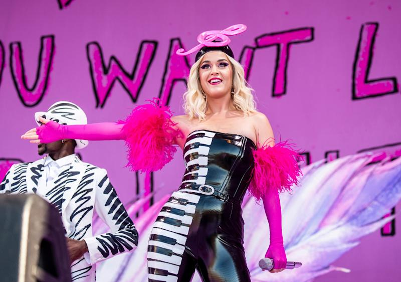 Katy Perry at the New Orleans Jazz and Heritage Festival in New Orleans, April 27, 2019.