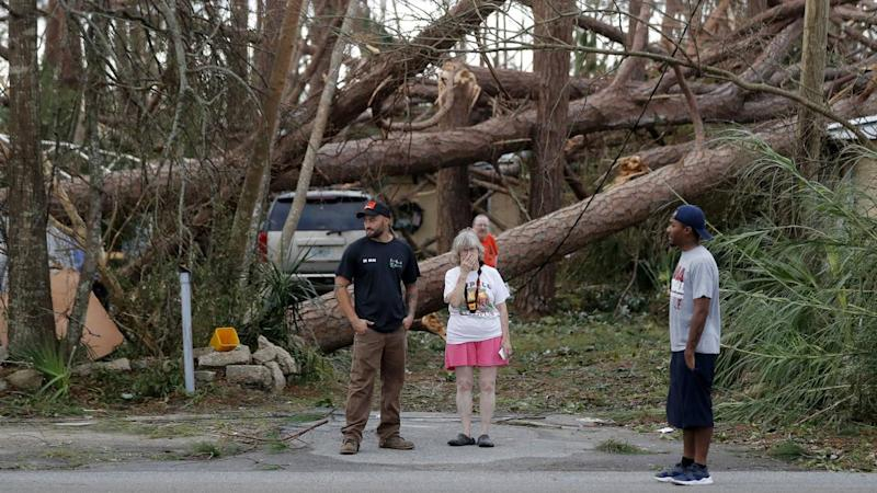 Hurricane Michael has destroyed buildings and trees, killing two people, in Florida's panhandle