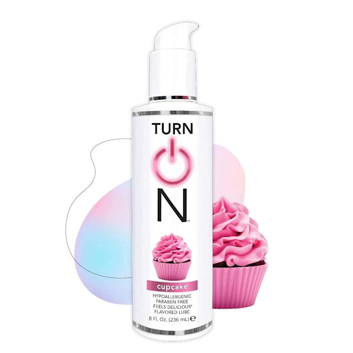 """This bottle encapsulates all the sweetness of a birthday cupcake, minus the wrapper and the mess. Hypoallergenic, and free of parabens and fragrances, this lube is ideal if you have hyper-sensitive skin. The water-based lube is toy- and condom-friendly, and is a breeze to wipe off. $9, Amazon. <a href=""""https://www.amazon.com/Turn-Strawberry-Flavored-Lubricant-Hypoallergenic/dp/B08KSLJPZC/?th=1"""" rel=""""nofollow noopener"""" target=""""_blank"""" data-ylk=""""slk:Get it now!"""" class=""""link rapid-noclick-resp"""">Get it now!</a>"""