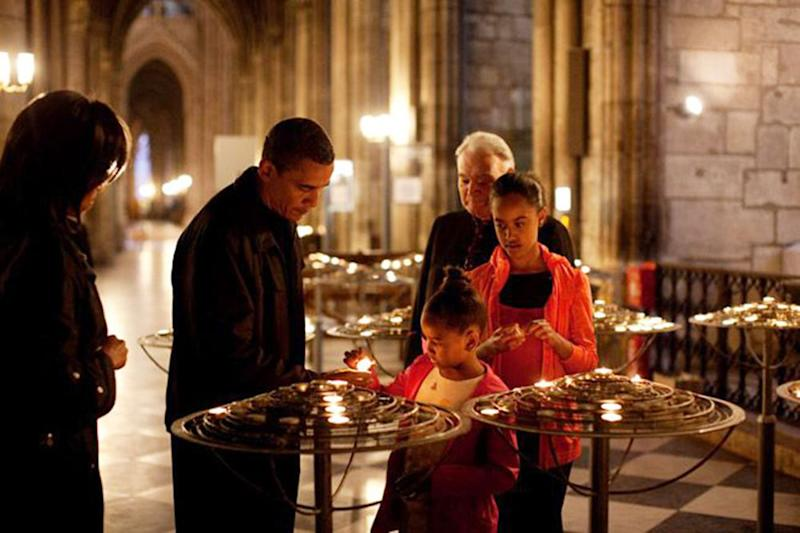 The Obamas in Notre Dame Cathedral in Paris in 2009 | REX/Shutterstock