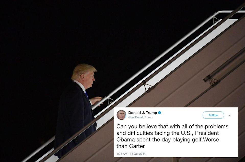 <p>When he was just an average, billionaire US citizen, Donald Trump had a real problem with the amount of time President Obama spent on the golf course. But despite numerous crises in his first 12 months in the job (natural disasters, North Korea, Iran, Russian hacking, race riots, etc) President Trump has managed to squeeze in (at a best estimate) 29 rounds of golf – compared to 22 times by Obama. Fore! (Getty) </p>