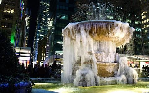 Bryant Park Fountain Freezes in  NYC