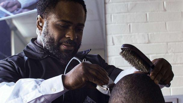 PHOTO: Principal Dr. Terrance Newton at the barbershop he opened inside his school Warner Elementary School in Wilmington, Del. (Courtesy Robert Markopoulos/Moises Velazquez)