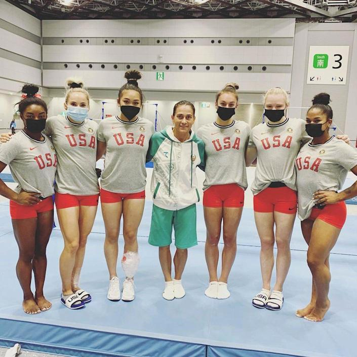 The women were lucky enough to get a photo during training with Oksana Chusovitina