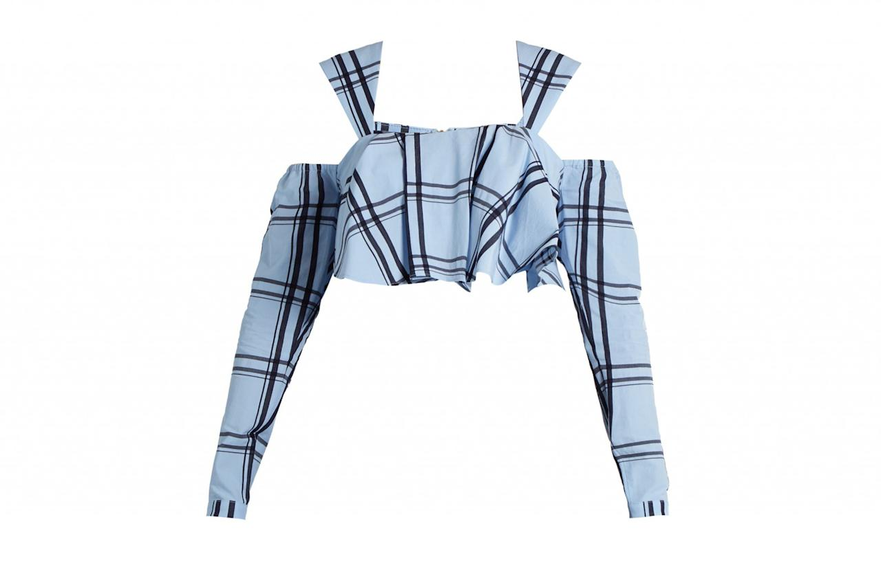 """<p><a rel=""""nofollow"""" href=""""http://www.matchesfashion.com/products/House-Of-Holland-Ruffled-checked-cotton-cropped-top-1078673"""">Matches, £126</a> </p>"""