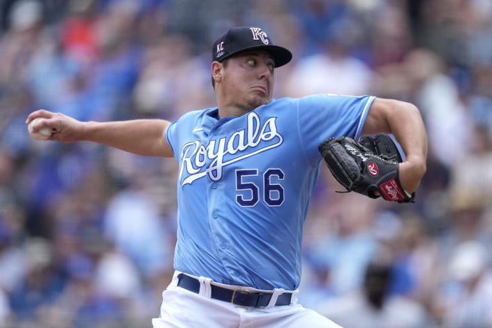 Kansas City Royals starting pitcher Brad Keller throws during the first inning of a baseball game against the Minnesota Twins Sunday, July 4, 2021, in Kansas City, Mo. (AP Photo/Charlie Riedel)