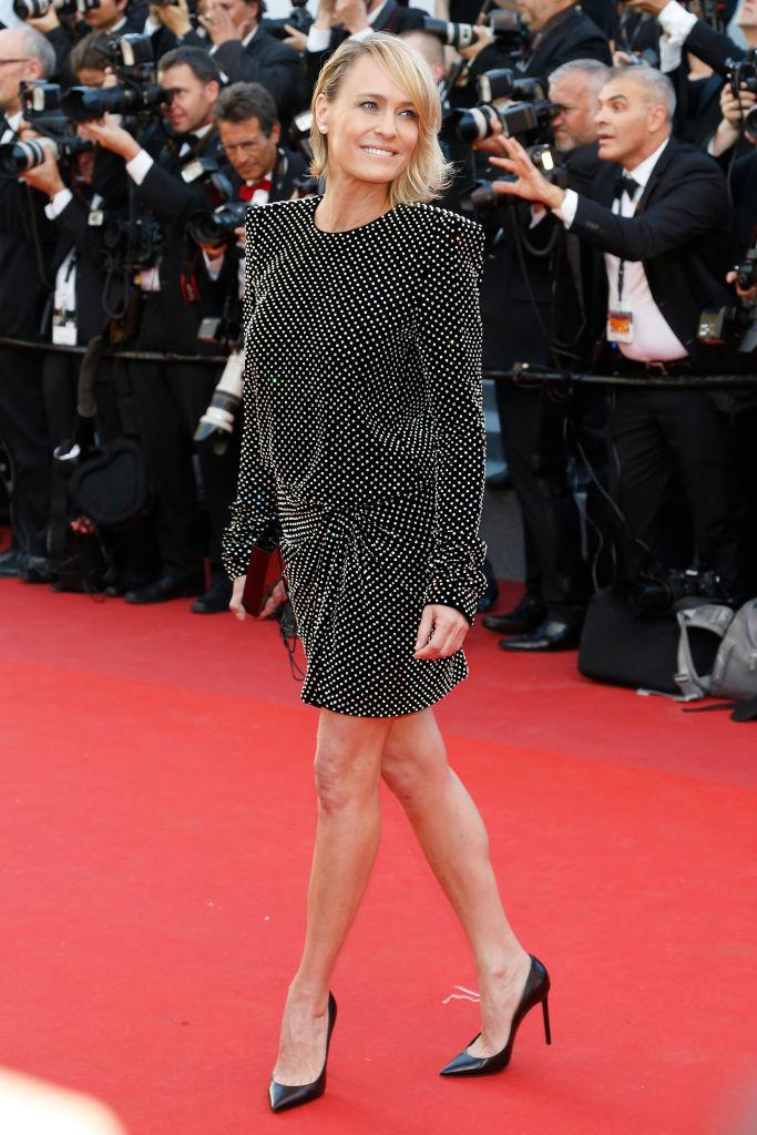 Robin Wright in Saint Laurent.
