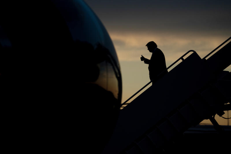 President Donald Trump exits Air Force One at Joint Base Andrews in Maryland, June 25, 2020. (Erin Schaff/The New York Times)