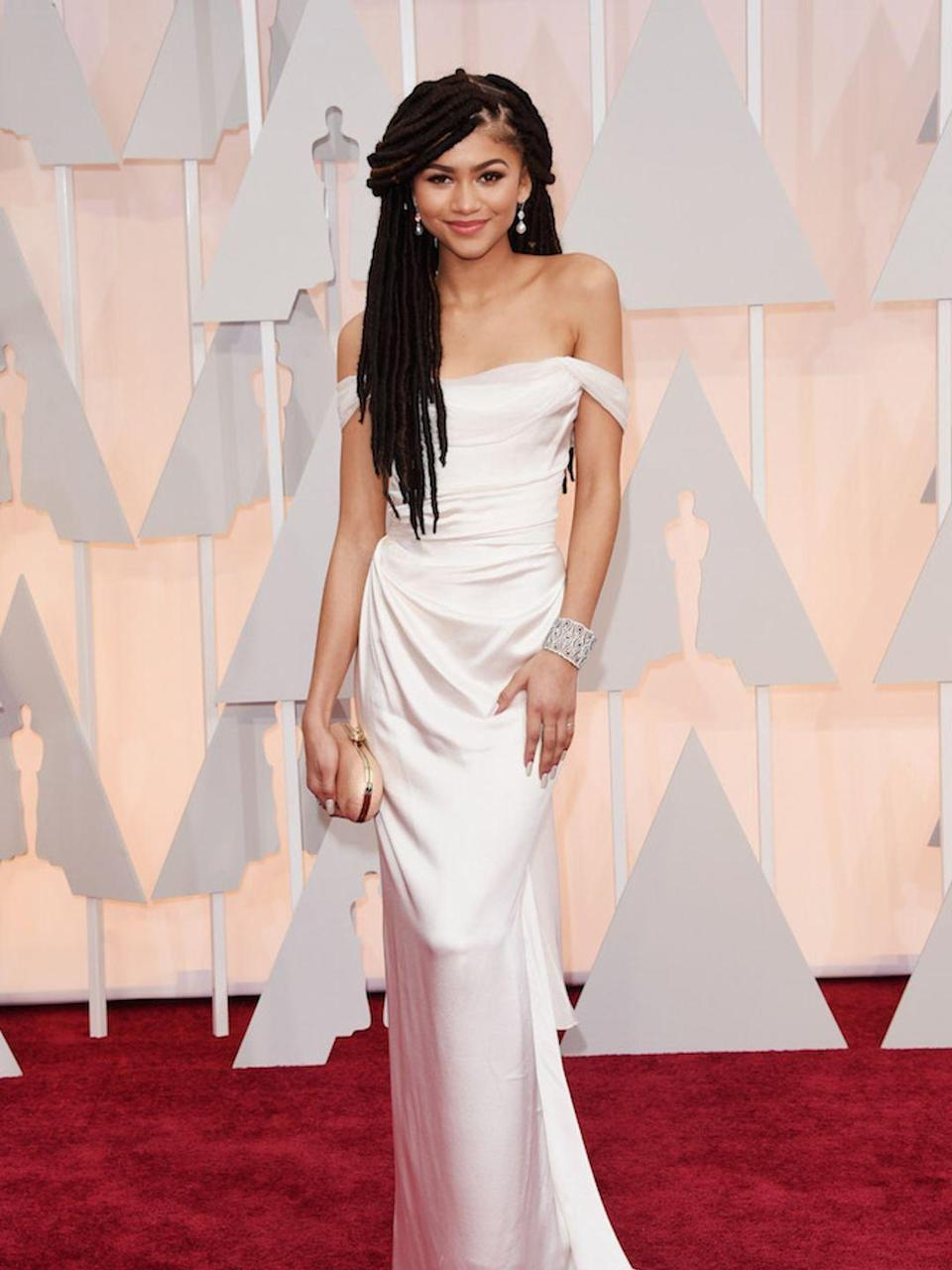 <p>Zendaya at the Academy Awards in February 2015</p>