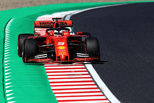 SUZUKA, JAPAN - OCTOBER 13: Sebastian Vettel of Germany driving the (5) Scuderia Ferrari SF90 on track during qualifying for the F1 Grand Prix of Japan at Suzuka Circuit on October 13, 2019 in Suzuka, Japan. (Photo by Mark Thompson/Getty Images)