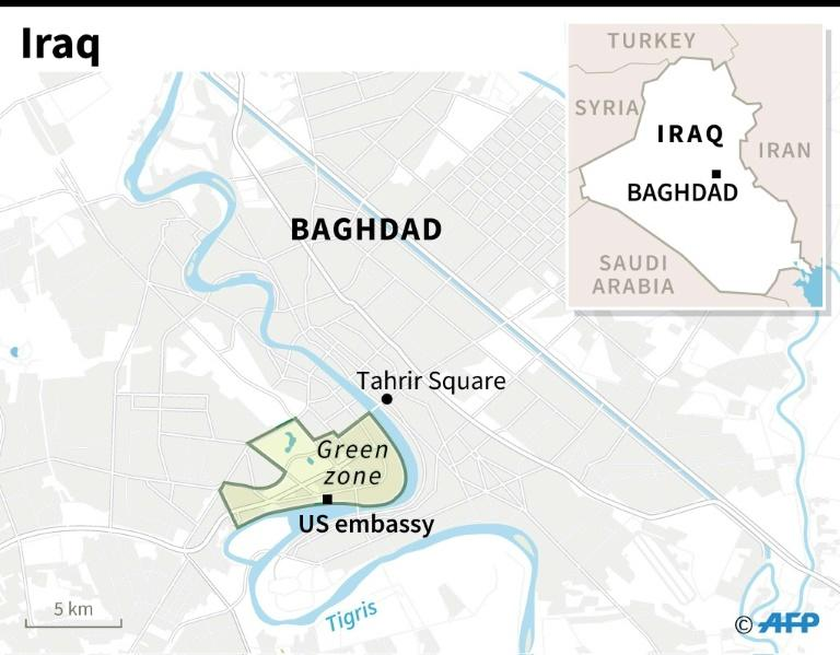 Map of central Baghdad locating the US embassy
