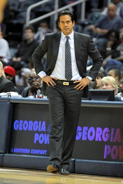 Miami Heat head coach Erik Spoelstra in the second half of their preseason NBA basketball game against the Atlanta Hawks, Sunday, Oct. 7, 2012, in Atlanta. The Hawks won 92-79. (AP Photo/Todd Kirkland)