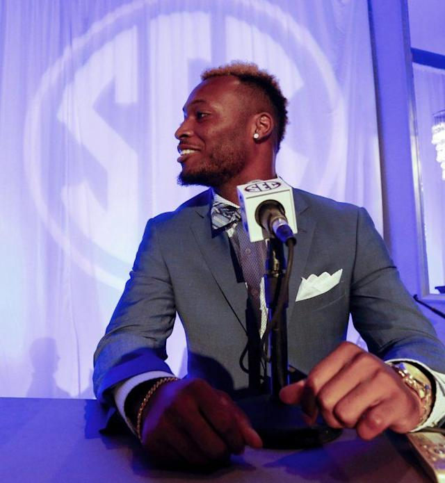Kentucky DB Mike Edwards made it to SEC Media Days with his suit intact. (AP)