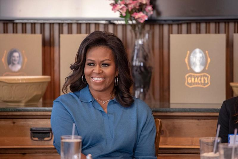 Michelle Obama enjoying a chat with members of my HTX Book and Brunch club. (Photo: Courtesy of Isaac Palmisano)