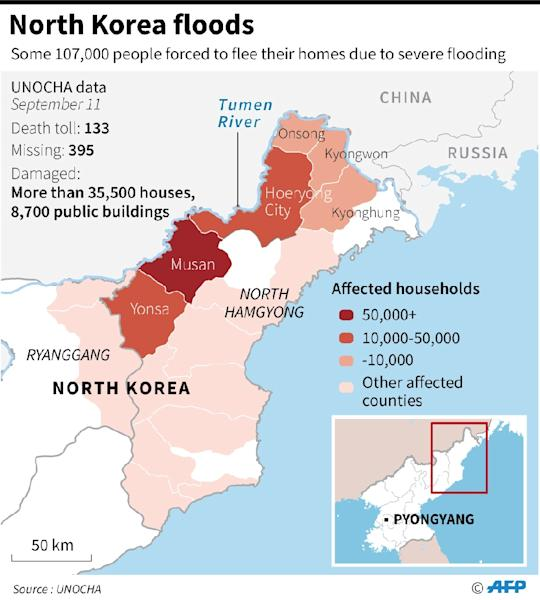 Map of North Korea showing the areas affected by severe flooding (AFP Photo/)