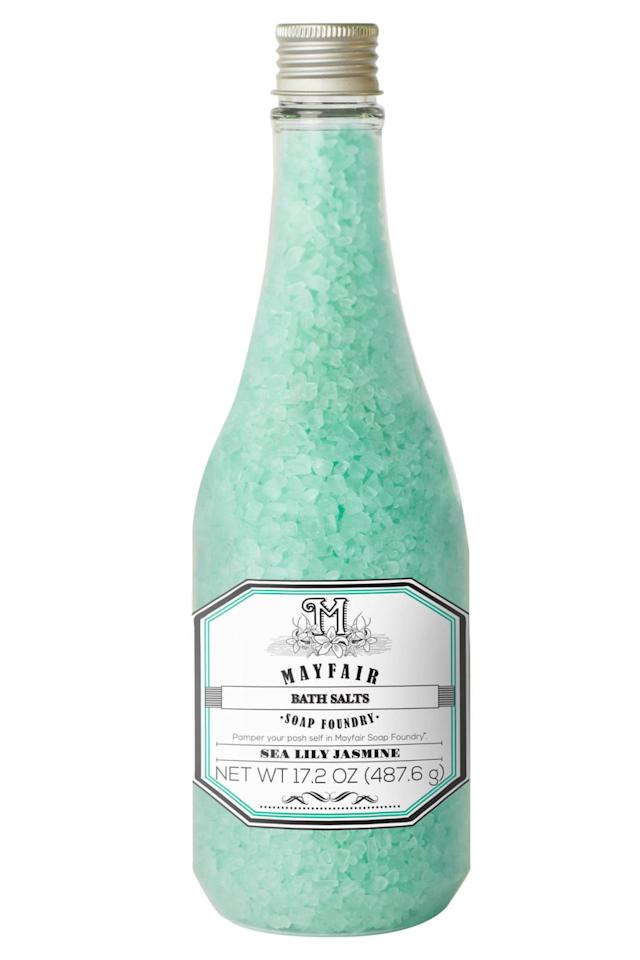 """<p><strong>BUY NOW: </strong><span><em>$9, <a rel=""""nofollow"""" href=""""https://www.target.com/p/mayfair-soap-foundry-sea-lily-jasmine-bath-salts-17-2-oz/-/A-49165969"""">target.com</a></em></span></p><p><span>For every product sold, <a rel=""""nofollow"""" href=""""http://www.mayfairsoapfoundry.com/social-impact/"""">Mayfair Soap Foundry</a> makes a donation to <a rel=""""nofollow"""" href=""""https://www.starlight.org/"""">Starlight Children's Foundation</a> to help improve the quality of life for kids and families around the U.S. experiencing difficult health challenges.<span></span></span></p>"""