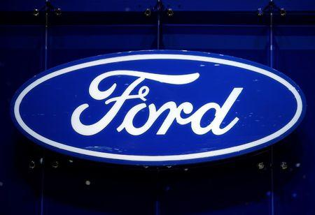 The Ford logo is pictured on the company's stand during the 88th Geneva International Motor Show in Geneva, Switzerland, March 7, 2018. REUTERS/Denis Balibouse