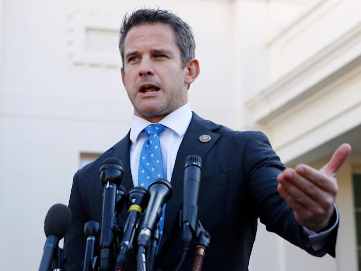 """FILE - In this March 6, 2019 file photo, Rep. Adam Kinzinger, R-Ill., speaks to the media at the White House in Washington.  Kinzinger is slamming as """"beyond repugnant"""" President Donald Trump's tweet of a conservative pastor's comment that removing Trump from office would provoke a """"civil war."""" (AP Photo/Jacquelyn Martin)"""