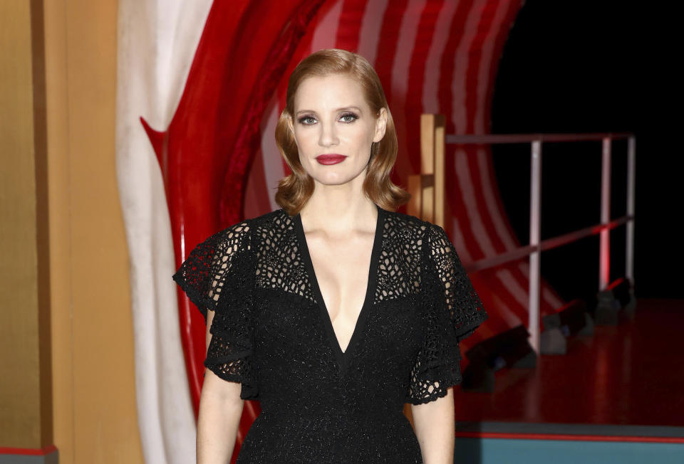 Actress Jessica Chastain poses for photographers on arrival at the European Premiere of the film 'It Chapter 2' in central London on Monday, Sept. 2, 2019. (Photo by Grant Pollard/Invision/AP)