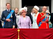 <p>Queen Elizabeth II laughs along with her grandson Prince William and her husband the Duke of Edinburgh as they watch a flypast from the balcony of Buckingham Palace, following the Trooping the Colour ceremony at Horse Guards Parade. (Dominic Lipinski/PA Wire) </p>